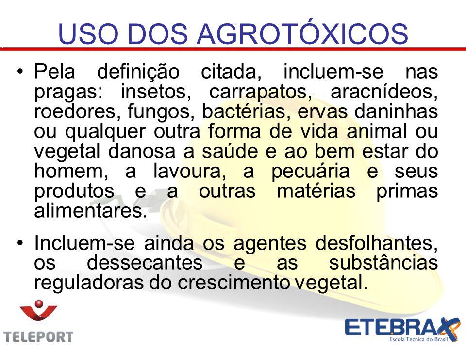 USO DOS AGROTÓXICOS Pela definição citada, incluem-se nas pragas: insetos, carrapatos, aracnídeos, roedores, fungos, bactérias, ervas daninhas ou qual
