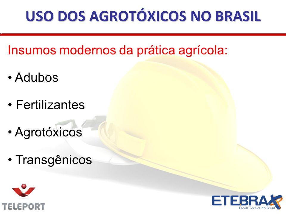 Insumos modernos da prática agrícola: Adubos Fertilizantes Agrotóxicos Transgênicos USO DOS AGROTÓXICOS NO BRASIL