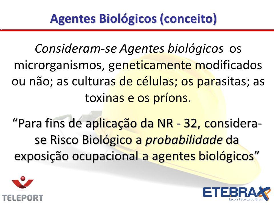 Agentes Biológicos (conceito) Para fins de aplicação da NR - 32, considera- se Risco Biológico a probabilidade da exposição ocupacional a agentes biológicos Consideram-se Agentes biológicos os microrganismos, geneticamente modificados ou não; as culturas de células; os parasitas; as toxinas e os príons.