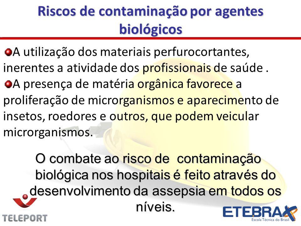 Riscos de contaminação por agentes biológicos A utilização dos materiais perfurocortantes, inerentes a atividade dos profissionais de saúde.