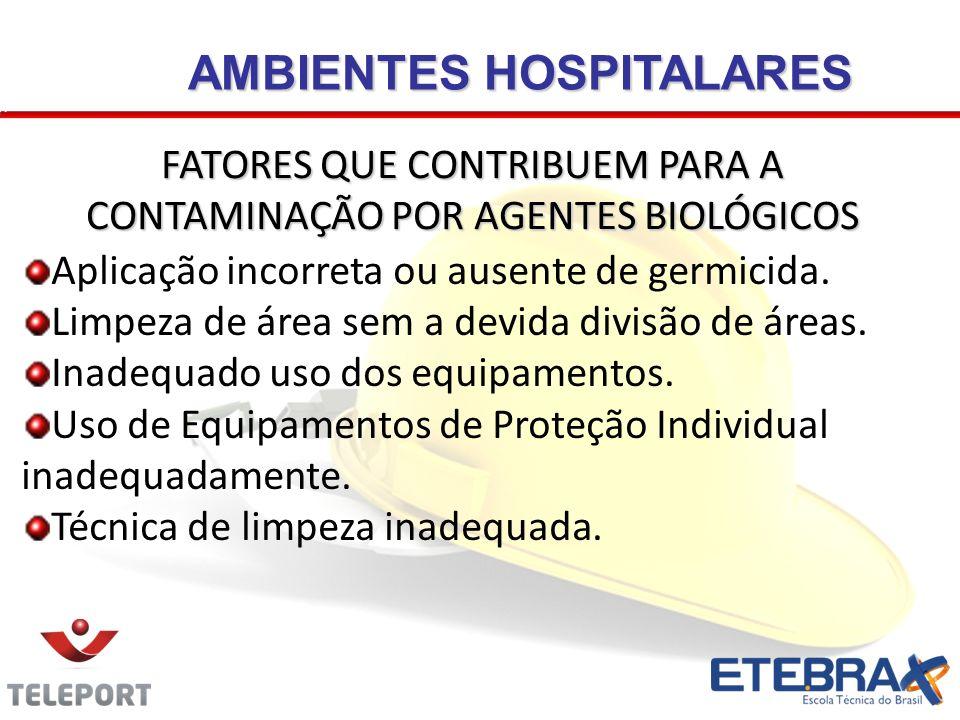 AMBIENTES HOSPITALARES Aplicação incorreta ou ausente de germicida.