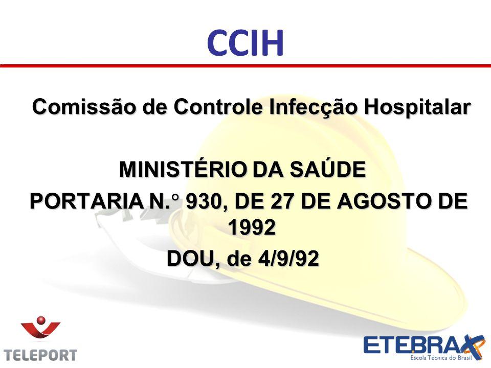 CCIH Comissão de Controle Infecção Hospitalar Comissão de Controle Infecção Hospitalar MINISTÉRIO DA SAÚDE PORTARIA N.