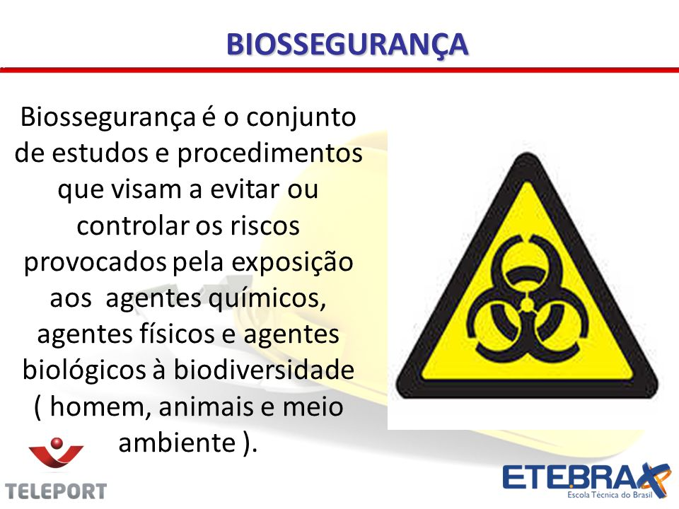 BIOSSEGURANÇA Biossegurança é o conjunto de estudos e procedimentos que visam a evitar ou controlar os riscos provocados pela exposição aos agentes químicos, agentes físicos e agentes biológicos à biodiversidade ( homem, animais e meio ambiente ).