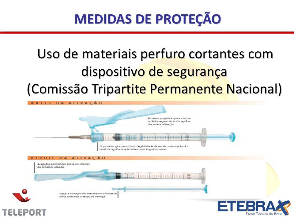 Uso de materiais perfuro cortantes com dispositivo de segurança (Comissão Tripartite Permanente Nacional) Uso de materiais perfuro cortantes com dispositivo de segurança (Comissão Tripartite Permanente Nacional) MEDIDAS DE PROTEÇÃO