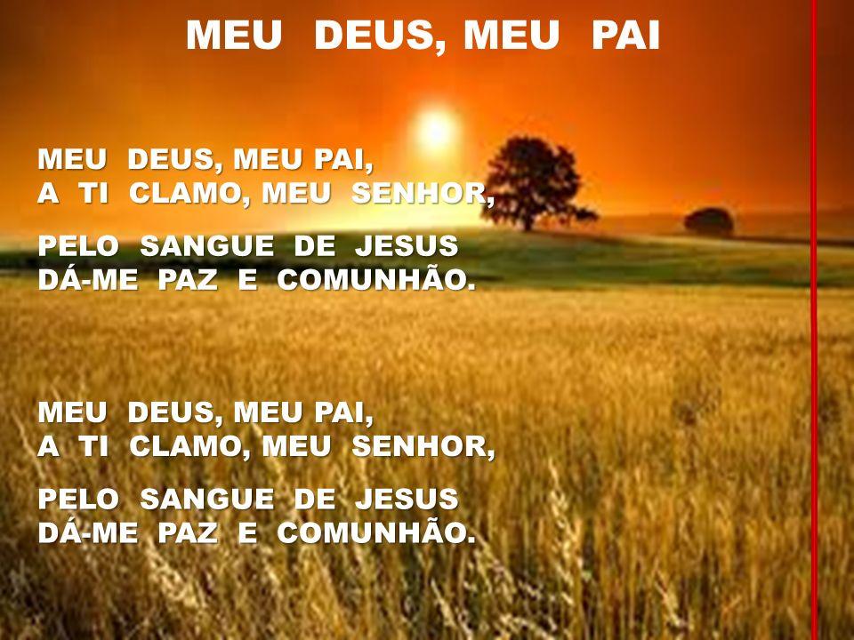 MEU DEUS, MEU PAI MEU DEUS, MEU PAI, A TI CLAMO, MEU SENHOR, PELO SANGUE DE JESUS DÁ-ME PAZ E COMUNHÃO. MEU DEUS, MEU PAI, A TI CLAMO, MEU SENHOR, PEL