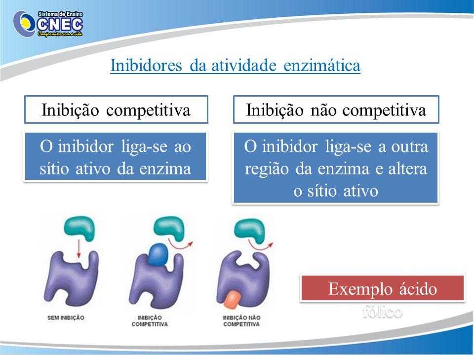 Inibidores da atividade enzimática Exemplo ácido fólico Inibição competitivaInibição não competitiva O inibidor liga-se ao sítio ativo da enzima O ini