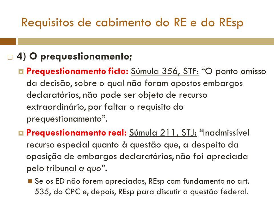 Requisitos de cabimento do RE e do REsp 4) O prequestionamento; Prequestionamento ficto: Súmula 356, STF: O ponto omisso da decisão, sobre o qual não