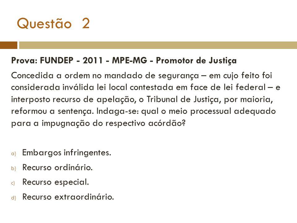 Questão 2 Prova: FUNDEP - 2011 - MPE-MG - Promotor de Justiça Concedida a ordem no mandado de segurança – em cujo feito foi considerada inválida lei l