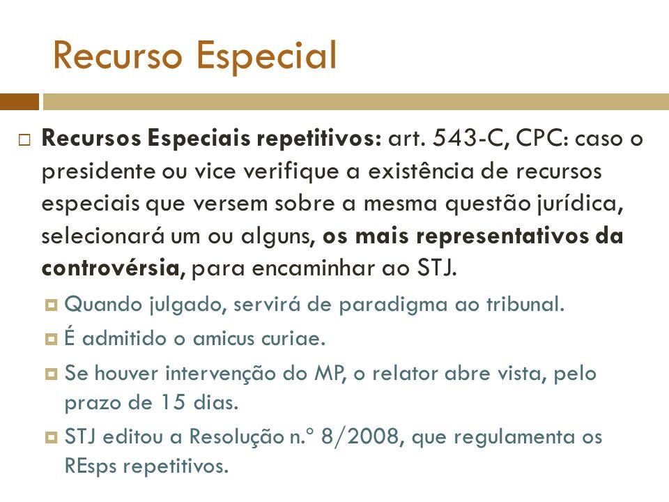 Recurso Especial Recursos Especiais repetitivos: art. 543-C, CPC: caso o presidente ou vice verifique a existência de recursos especiais que versem so