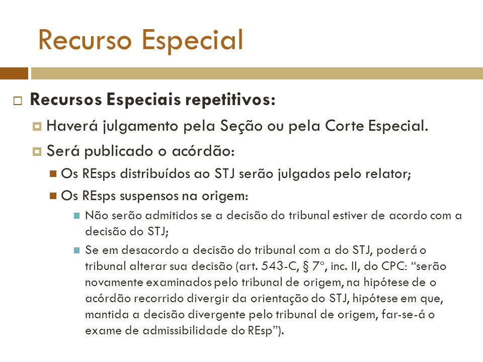 Recurso Especial Recursos Especiais repetitivos: Haverá julgamento pela Seção ou pela Corte Especial. Será publicado o acórdão: Os REsps distribuídos