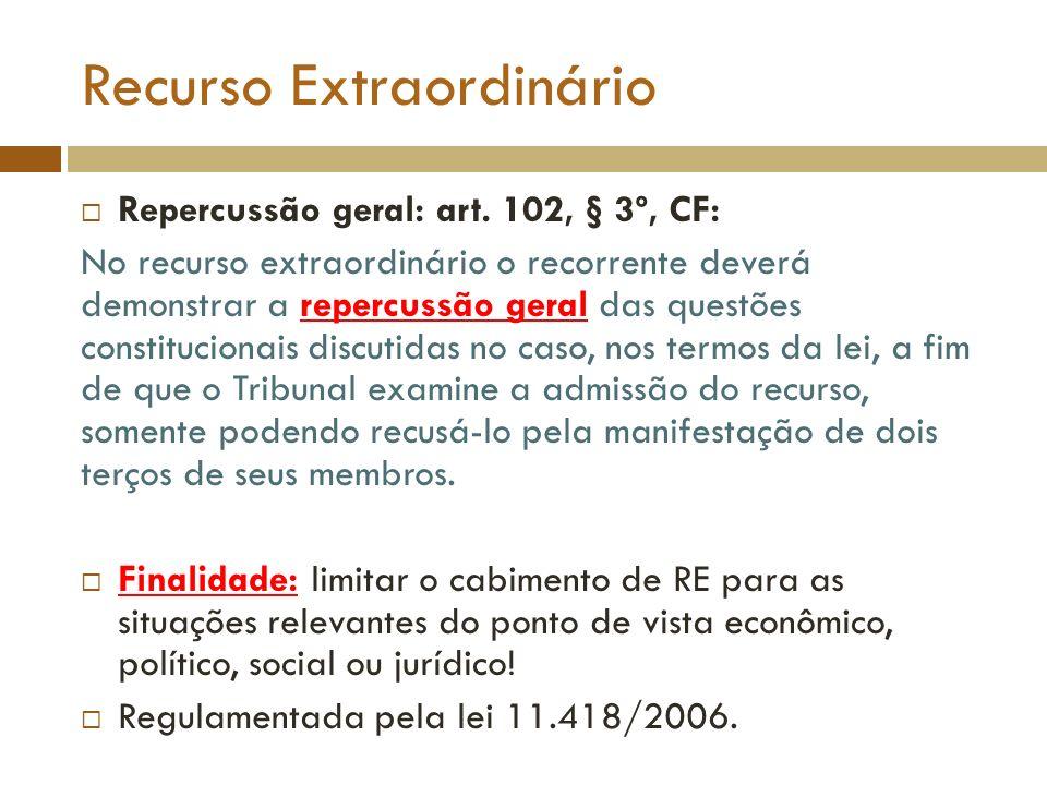 Recurso Extraordinário Repercussão geral: art. 102, § 3º, CF: No recurso extraordinário o recorrente deverá demonstrar a repercussão geral das questõe