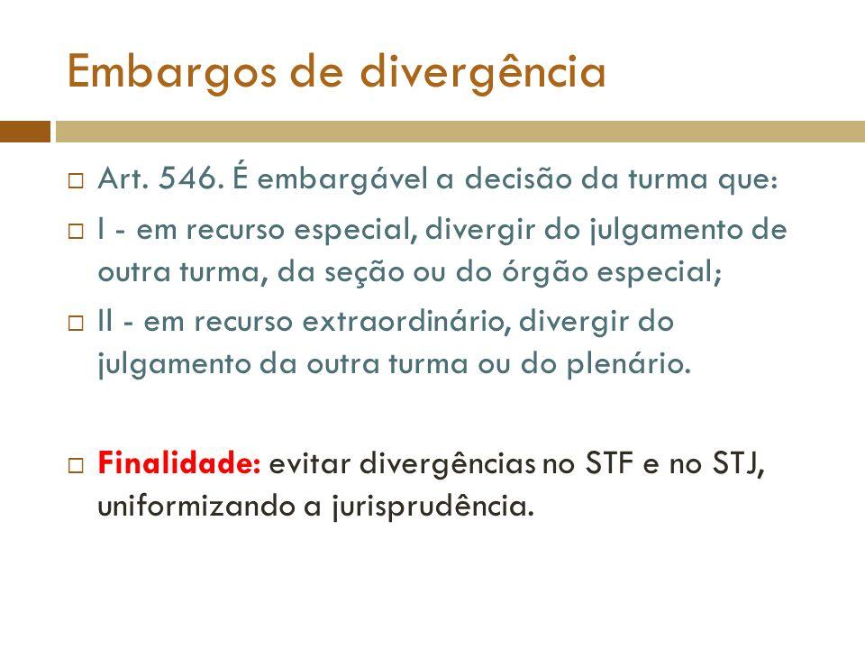 Embargos de divergência Art. 546. É embargável a decisão da turma que: I - em recurso especial, divergir do julgamento de outra turma, da seção ou do