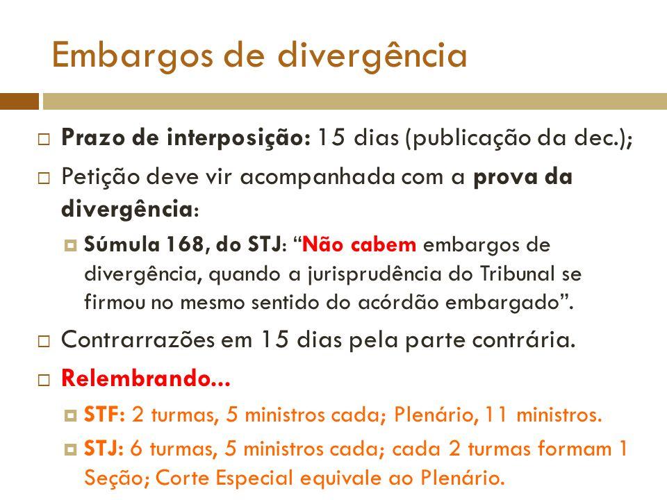 Embargos de divergência Prazo de interposição: 15 dias (publicação da dec.); Petição deve vir acompanhada com a prova da divergência: Súmula 168, do S