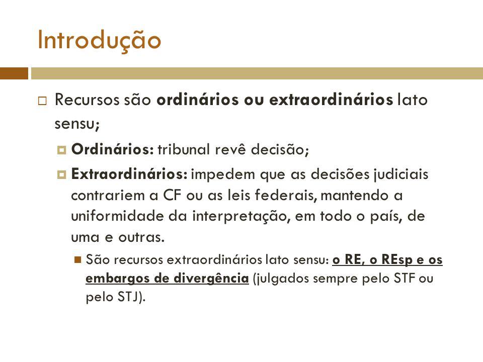 Introdução Recursos são ordinários ou extraordinários lato sensu; Ordinários: tribunal revê decisão; Extraordinários: impedem que as decisões judiciai