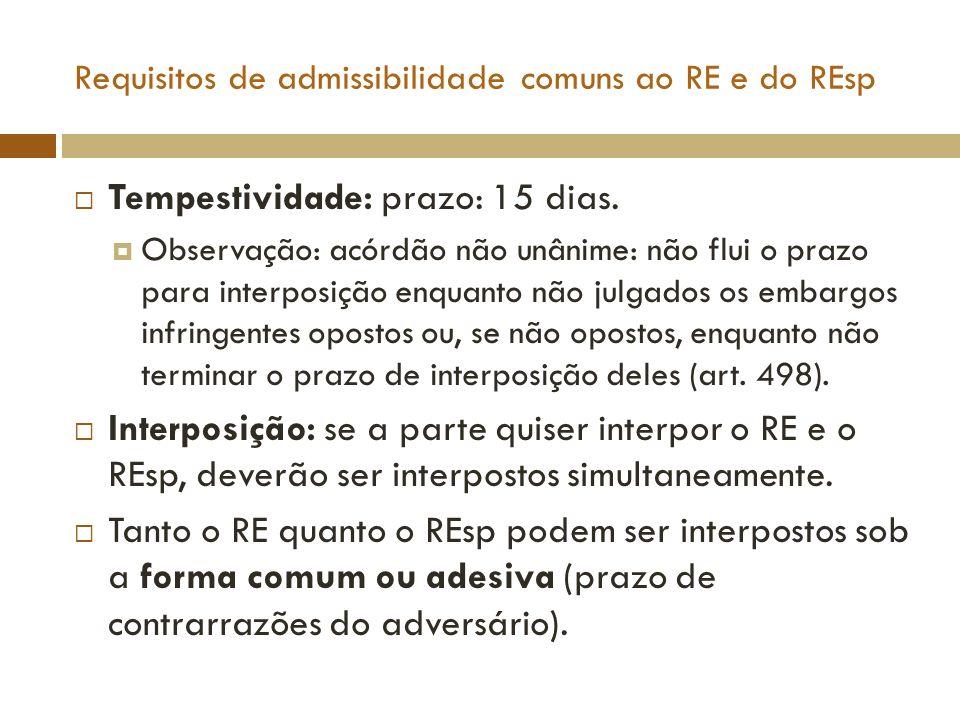 Requisitos de admissibilidade comuns ao RE e do REsp Tempestividade: prazo: 15 dias. Observação: acórdão não unânime: não flui o prazo para interposiç