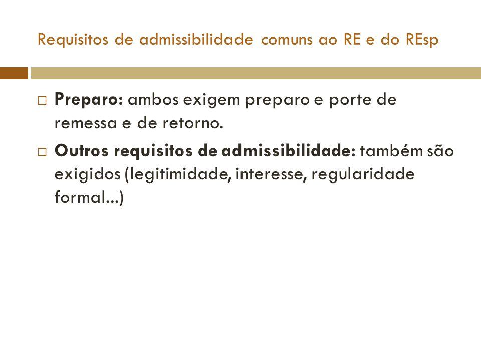 Requisitos de admissibilidade comuns ao RE e do REsp Preparo: ambos exigem preparo e porte de remessa e de retorno. Outros requisitos de admissibilida
