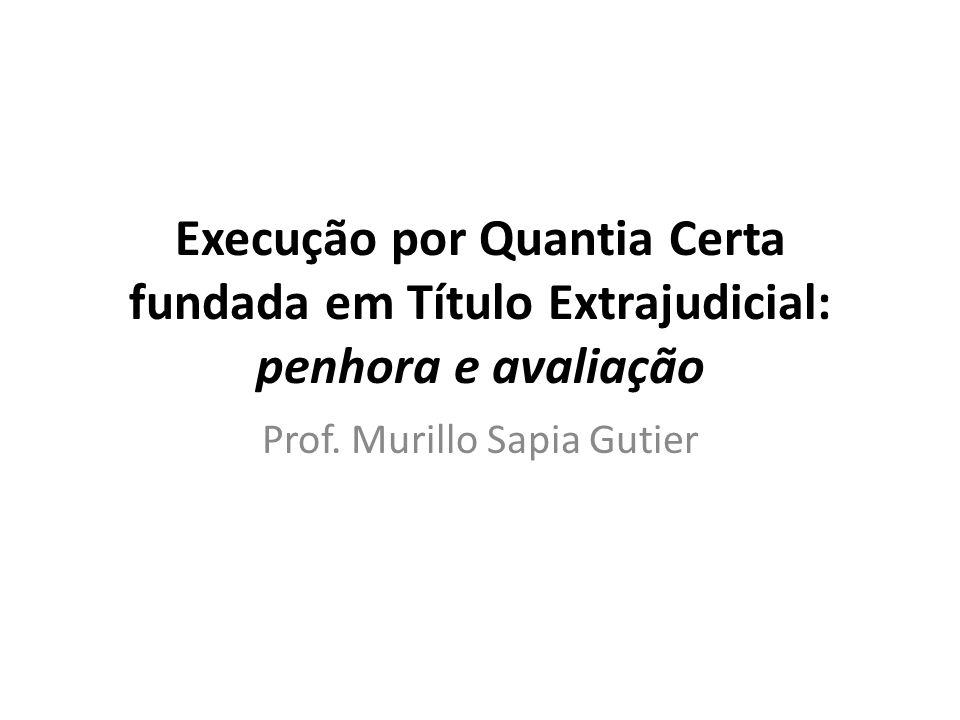 Execução por Quantia Certa fundada em Título Extrajudicial: penhora e avaliação Prof. Murillo Sapia Gutier