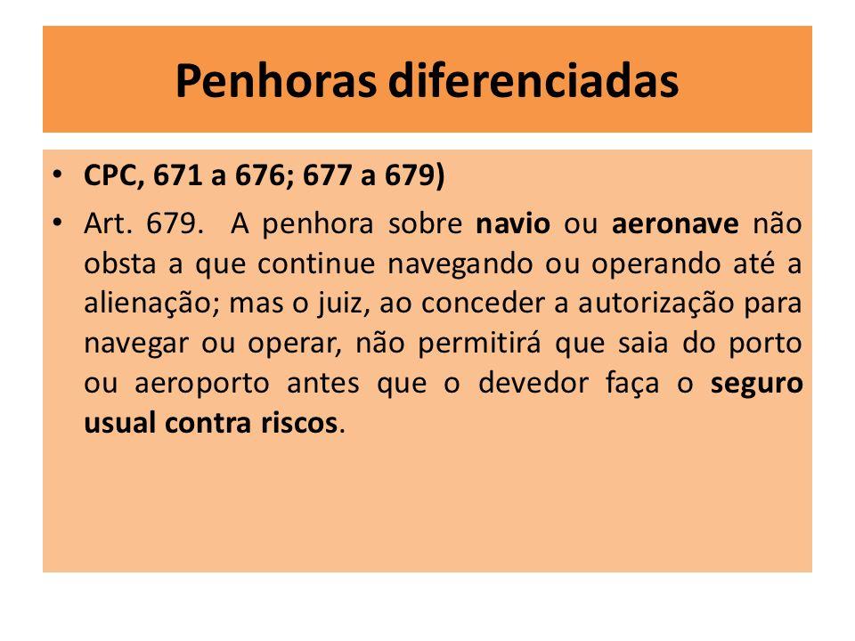 Penhoras diferenciadas CPC, 671 a 676; 677 a 679) Art. 679. A penhora sobre navio ou aeronave não obsta a que continue navegando ou operando até a ali