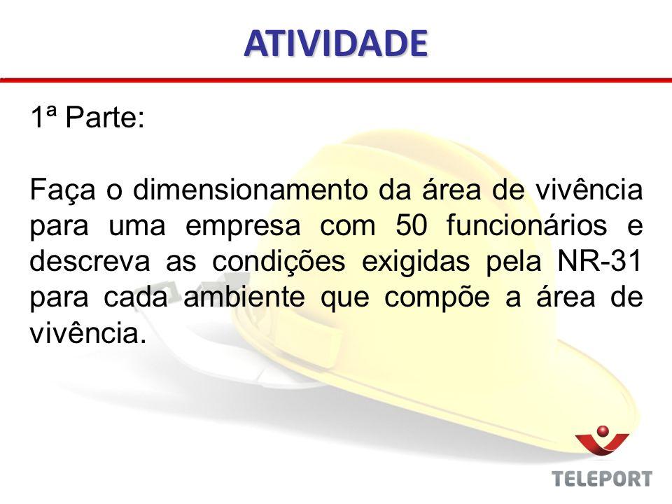 ATIVIDADE 1ª Parte: Faça o dimensionamento da área de vivência para uma empresa com 50 funcionários e descreva as condições exigidas pela NR-31 para c