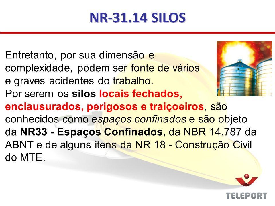 NR-31.14 SILOS Entretanto, por sua dimensão e complexidade, podem ser fonte de vários e graves acidentes do trabalho. Por serem os silos locais fechad