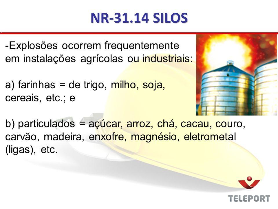 NR-31.14 SILOS -Explosões ocorrem frequentemente em instalações agrícolas ou industriais: a) farinhas = de trigo, milho, soja, cereais, etc.; e b) par