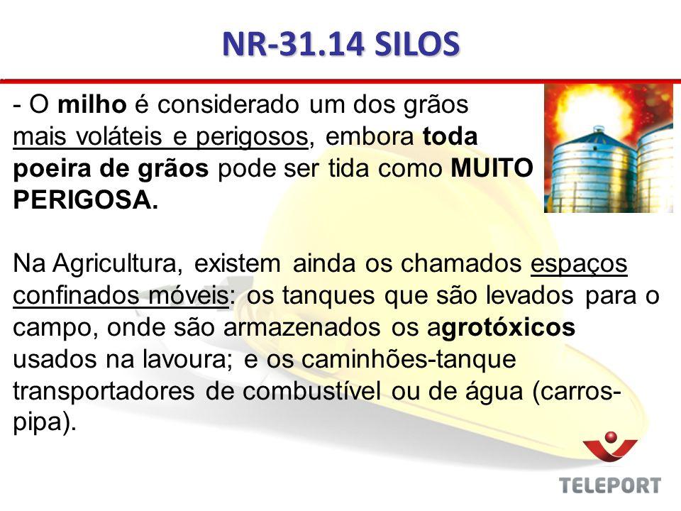 NR-31.14 SILOS - O milho é considerado um dos grãos mais voláteis e perigosos, embora toda poeira de grãos pode ser tida como MUITO PERIGOSA. Na Agric