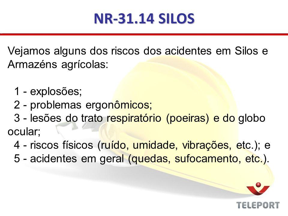 NR-31.14 SILOS Vejamos alguns dos riscos dos acidentes em Silos e Armazéns agrícolas: 1 - explosões; 2 - problemas ergonômicos; 3 - lesões do trato re