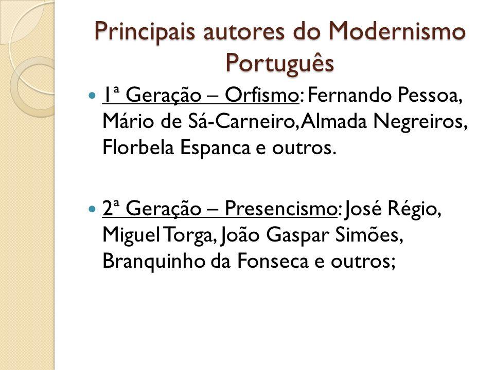Principais autores do Modernismo Português 1ª Geração – Orfismo: Fernando Pessoa, Mário de Sá-Carneiro, Almada Negreiros, Florbela Espanca e outros. 2