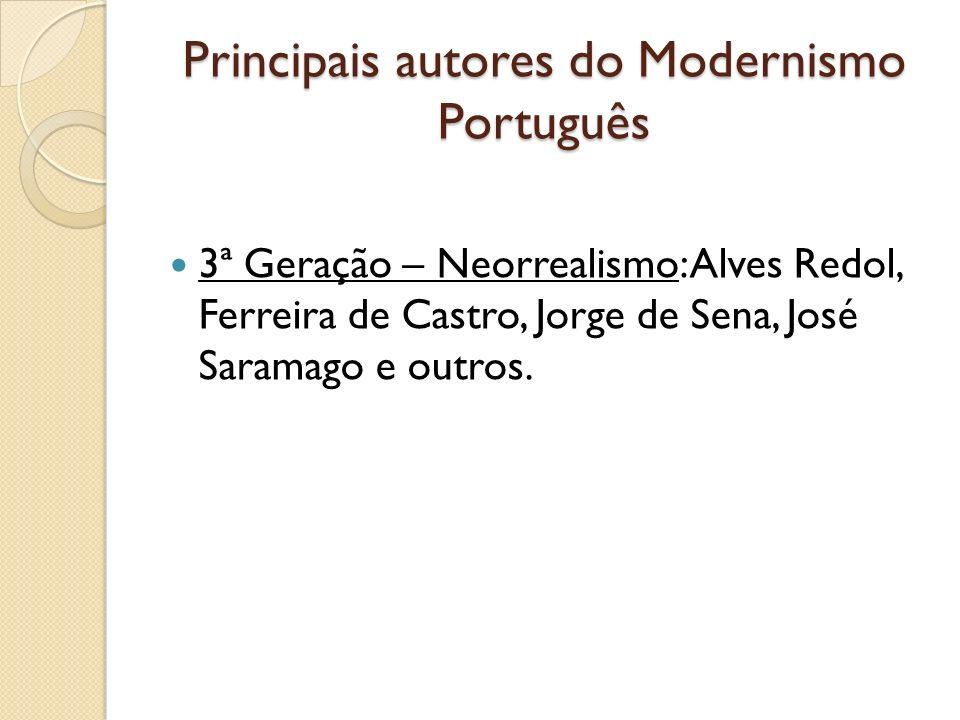Principais autores do Modernismo Português 3ª Geração – Neorrealismo: Alves Redol, Ferreira de Castro, Jorge de Sena, José Saramago e outros.