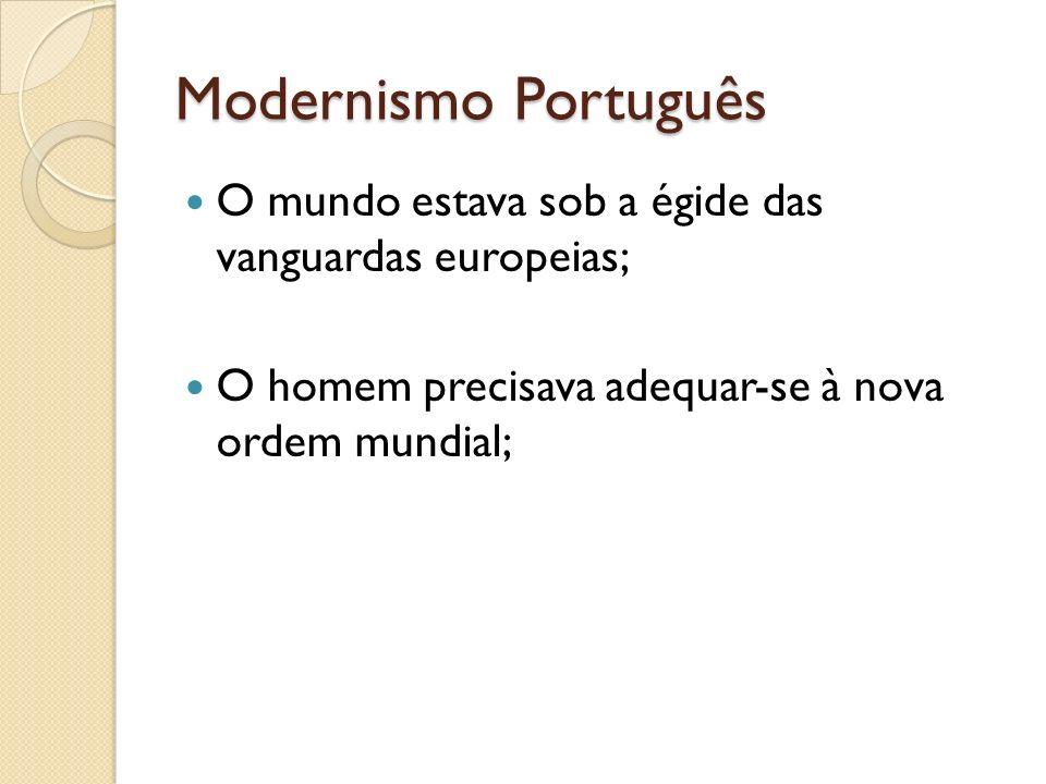 Modernismo Português Os artistas portugueses, apegados ao Saudosismo de Teixeira de Pacoaes, entenderam que ou adequavam-se a uma nova realidade e ao novo modo de ver o mundo ou assistiriam de longe à passagem de um século revolucionário, com tudo de bom que poderia trazer, porém sem a participação lusa.
