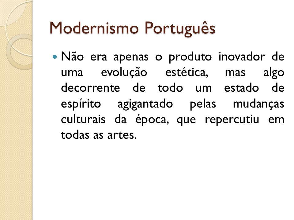 Modernismo Português Não era apenas o produto inovador de uma evolução estética, mas algo decorrente de todo um estado de espírito agigantado pelas mu