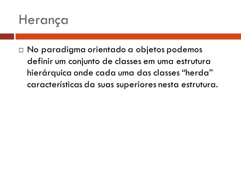 Herança No paradigma orientado a objetos podemos definir um conjunto de classes em uma estrutura hierárquica onde cada uma das classes herda caracterí