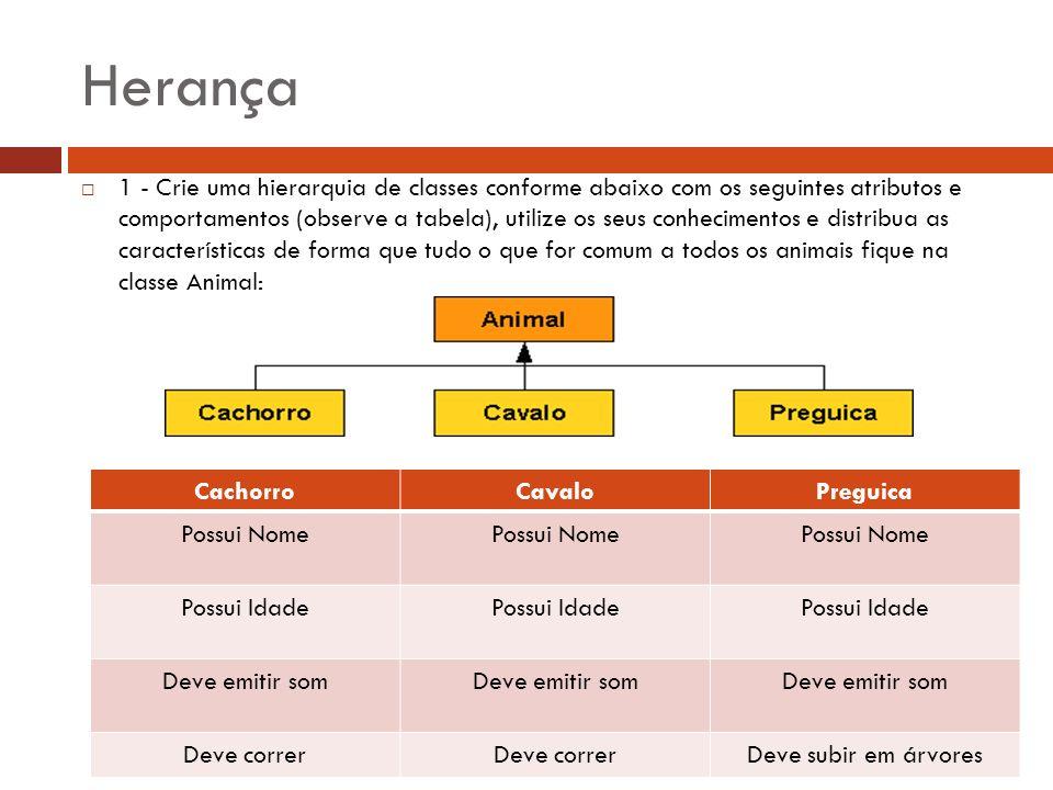 Herança 1 - Crie uma hierarquia de classes conforme abaixo com os seguintes atributos e comportamentos (observe a tabela), utilize os seus conheciment