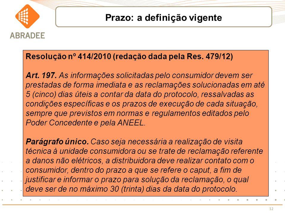12 Resolução nº 414/2010 (redação dada pela Res. 479/12) Art. 197. As informações solicitadas pelo consumidor devem ser prestadas de forma imediata e