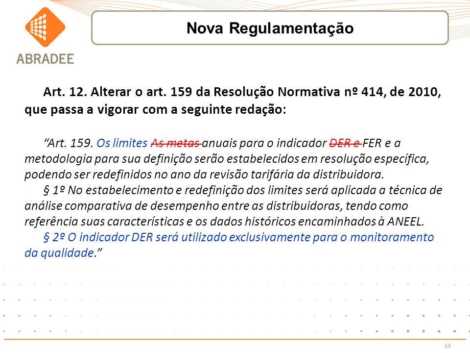 34 Art. 12. Alterar o art. 159 da Resolução Normativa nº 414, de 2010, que passa a vigorar com a seguinte redação: Art. 159. Os limites As metas anuai