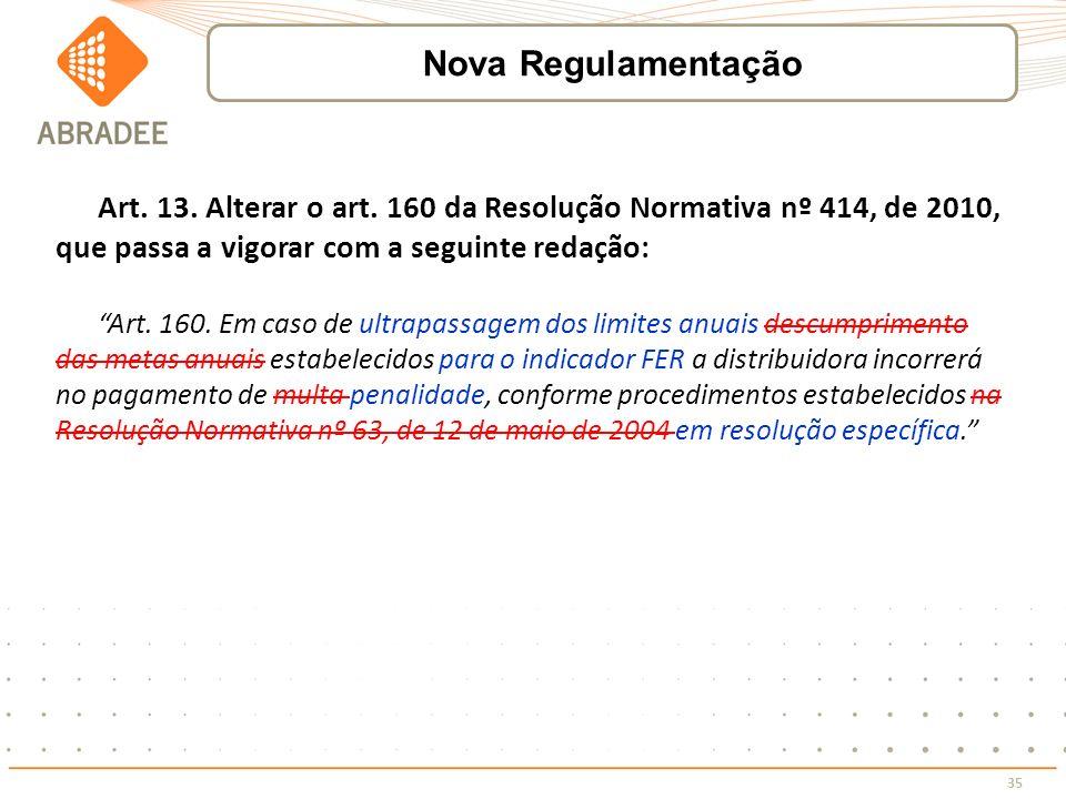 35 Art. 13. Alterar o art. 160 da Resolução Normativa nº 414, de 2010, que passa a vigorar com a seguinte redação: Art. 160. Em caso de ultrapassagem