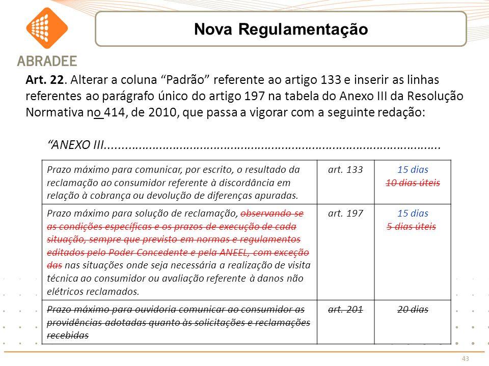 43 Art. 22. Alterar a coluna Padrão referente ao artigo 133 e inserir as linhas referentes ao parágrafo único do artigo 197 na tabela do Anexo III da