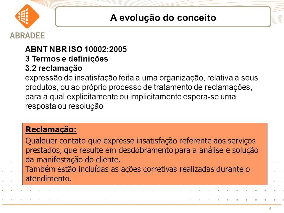 6 ABNT NBR ISO 10002:2005 3 Termos e definições 3.2 reclamação expressão de insatisfação feita a uma organização, relativa a seus produtos, ou ao próp