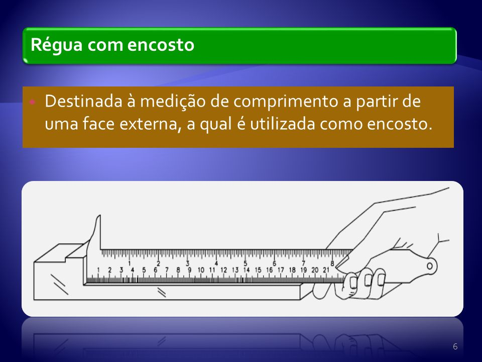 Régua com encosto Destinada à medição de comprimento a partir de uma face externa, a qual é utilizada como encosto.
