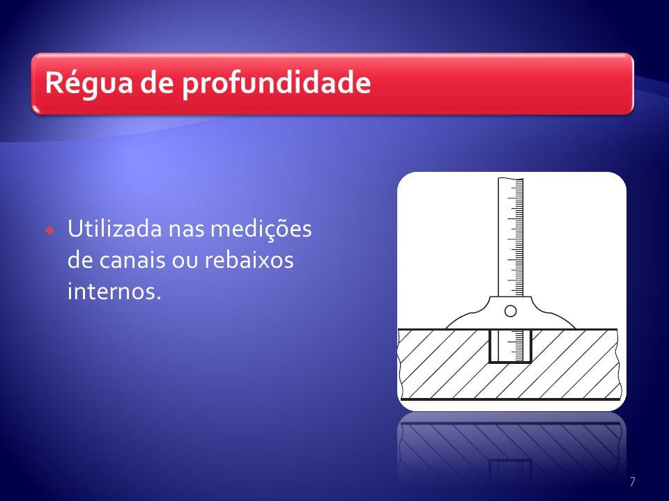 Régua de dois encostos Dotada de duas escalas: uma com referência interna e outra com referência externa.
