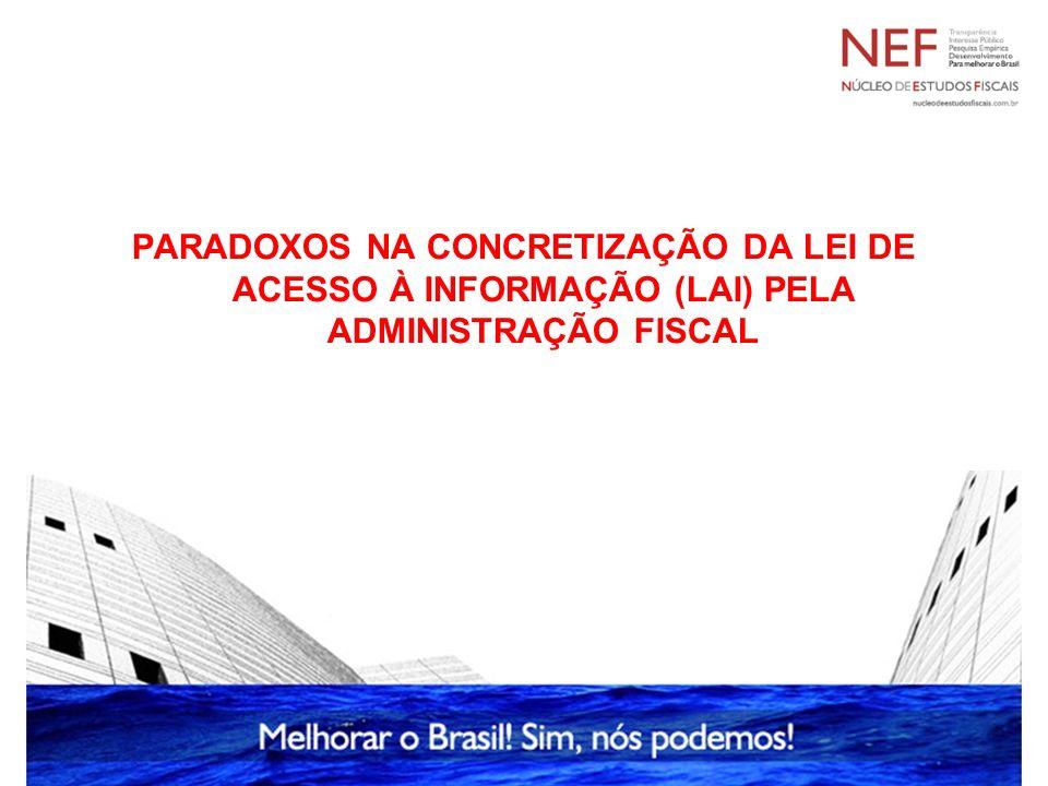 Paradoxos na concretização da LAI pela Administração Fiscal A regra (transparência) torna-se exceção na Administração Fiscal.
