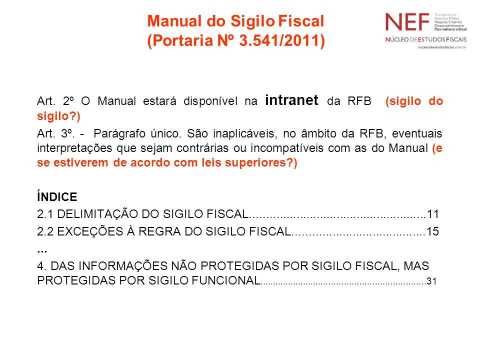 Manual do Sigilo Fiscal (Portaria Nº 3.541/2011) Art. 2º O Manual estará disponível na intranet da RFB (sigilo do sigilo?) Art. 3º. - Parágrafo único.
