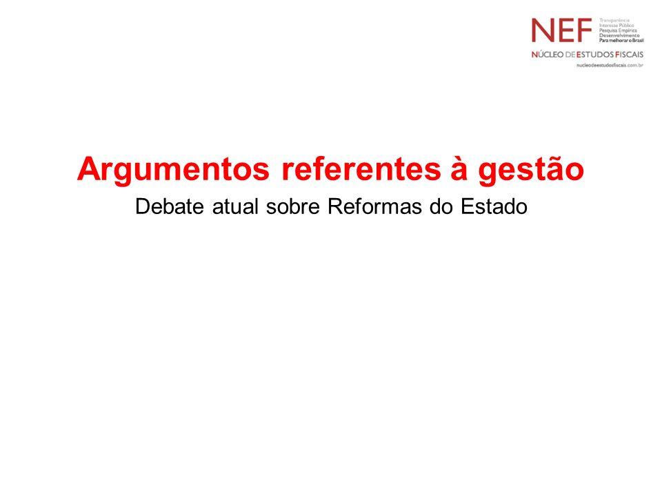 Argumentos referentes à gestão Debate atual sobre Reformas do Estado