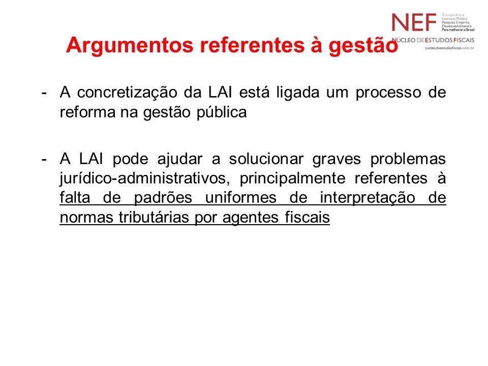 Argumentos referentes à gestão -A concretização da LAI está ligada um processo de reforma na gestão pública -A LAI pode ajudar a solucionar graves pro