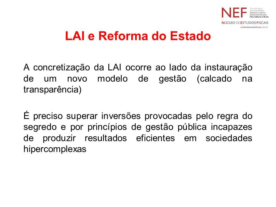 LAI e Reforma do Estado A concretização da LAI ocorre ao lado da instauração de um novo modelo de gestão (calcado na transparência) É preciso superar