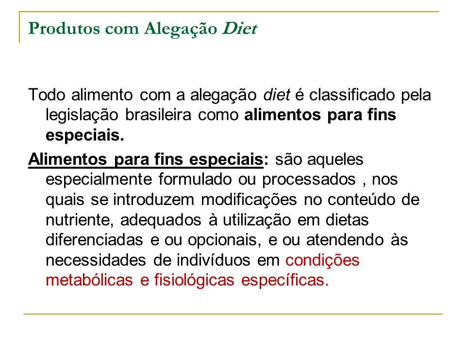Produtos com Alegação Diet Todo alimento com a alegação diet é classificado pela legislação brasileira como alimentos para fins especiais.