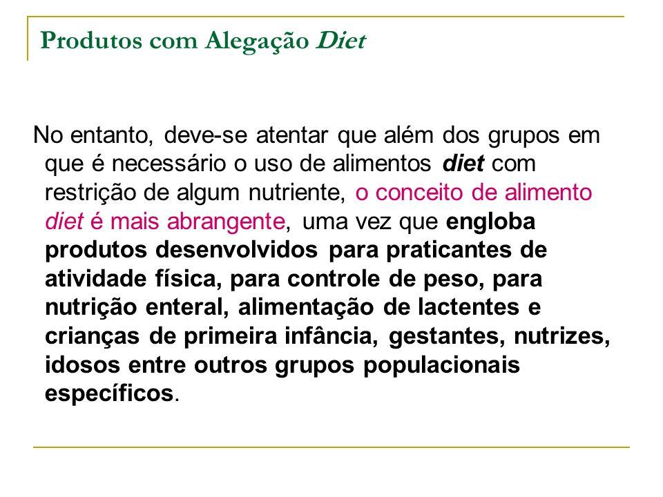Produtos com Alegação Diet No entanto, deve-se atentar que além dos grupos em que é necessário o uso de alimentos diet com restrição de algum nutrient