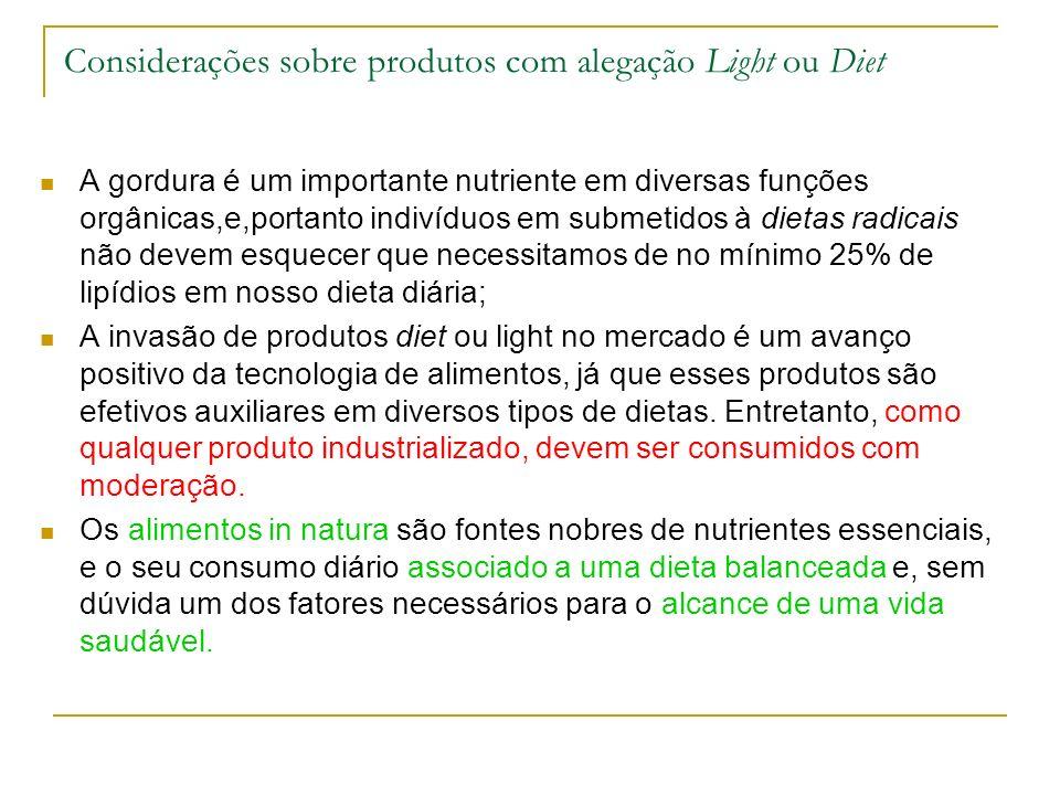 Considerações sobre produtos com alegação Light ou Diet A gordura é um importante nutriente em diversas funções orgânicas,e,portanto indivíduos em sub