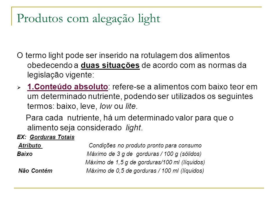 Produtos com alegação light O termo light pode ser inserido na rotulagem dos alimentos obedecendo a duas situações de acordo com as normas da legislaç