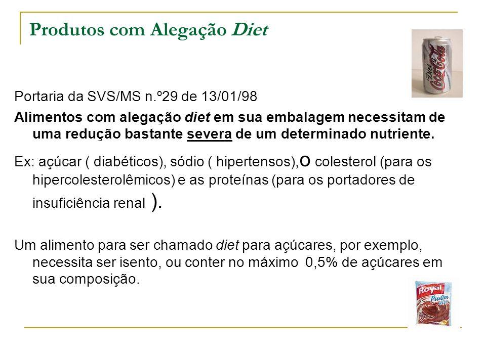 Produtos com Alegação Diet Portaria da SVS/MS n.º29 de 13/01/98 Alimentos com alegação diet em sua embalagem necessitam de uma redução bastante severa